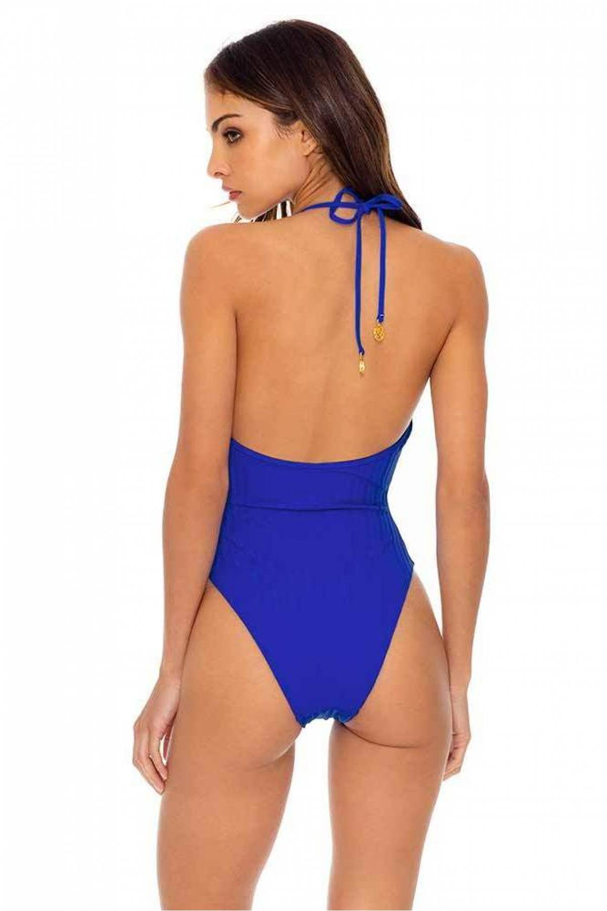 SOMETHING BLUE TIE FRONT HIGH LEG ONE PIECE
