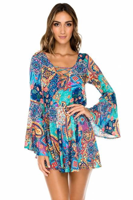 Laced Up Bell Sleeve Dress
